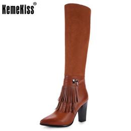 Wholesale Warm Long Shoes For Woman - KemeKiss Size 33-43 Women Knee Boots Tassel High Heel Boots Zipper Warm Fur Shoes For Cold Winte Botas Long Boots Women Footwear