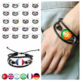 Wholesale beaded flags - World Cup National Flags Charm Bracelet Bangles Handmade Bracelet Country Flag Fans Leather Rope Beaded Wristband 20 styles FFA089