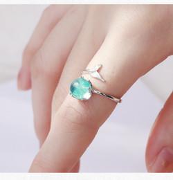 meninas anéis dedo tamanho Desconto 925 de prata esterlina azul aberto sereia bolha anéis para mulheres meninas presente declaração de jóias tamanho ajustável anel de dedo xmas