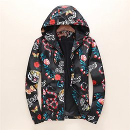 Wholesale blend jacket - Fashion Jacket Casual Windbreaker Long Sleeve Cotton Blend Size M-3XL One Coler Mens Jackets Zipper Pocket Animal Flower Letter Pattern