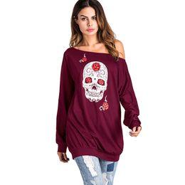 Wholesale Top Halloween Costumes For Women - Skull Print Off Shoulder Long Sleeve Hoodies Halloween Costumes for Women Tops 2018 Autumn Plus Size Sweatshirt