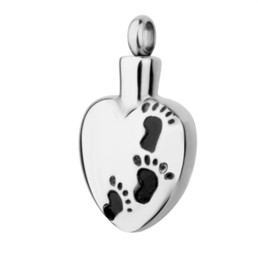 Wholesale Wholesale Pet Urns - Wholesale heart-shaped footprints made stainless steel love necklace to commemorate pet dog cremation urn funeral jewelry pendant