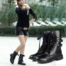 Wholesale Womens Black Combat Boots - Lady Womens Punk Motorcycle Biker Military Army Combat Ankle Boots Shoes