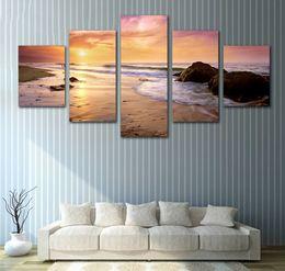 Fiumi di pittura online-Tela Wall Art Painting No Frame Home Decor Living Room 5 Pezzi HD Stampato River at Sunshine Immagini Natural Landscape Poster