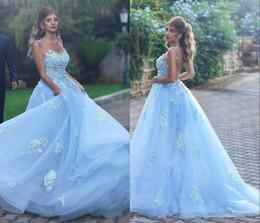 Femmes élégantes robes de soirée formelles avec appliques 3D-Floral perlé Illusion Retour Sky Blue Tulle Plus la taille Robes Occasion robes de bal ? partir de fabricateur