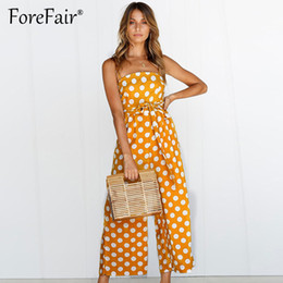 42d3bf38b4a Forefair Polka Dot Camisole Jumpsuit Women Rompers Summer Woven Strapless  Belted Wide Leg Pants Jumpsuit Casual Overalls Femme polka dot pant  jumpsuit deals