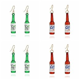 Wholesale Jewelry Plastic Bottles - Korean Fashion Beer Bottle Dangle Earrings Unique Creative Earrings Long Ear Rings Personality Jewelry Ear Clip Stud Girls Free DHL H168F