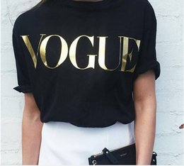 Wholesale gray t shirts wholesale - Spring New Fashion t shirts for women t-shirt gold VOGUE letter women Short Sleeve Crew Neck graphic tees Casual Womens tops