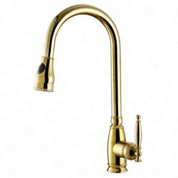 Wholesale Polished Gold Faucets - 2017 Rushed Luxurious Polished Copper Robinet Para Torneira Cozinha Single Lever Swivel Sink Mixer Gold Kitchen Faucet Pull Out