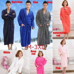 Wholesale Sleepwear Men Long Sleeve Cotton - M-3XL Unisex Men Women Bathrobe Soft Plush Coral Velvet Flannel Long Sleeve Sleepwear Spa Robe(Color:8Colors)