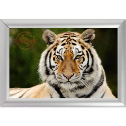 Wholesale Picture Frame Custom - Silver Color Aluminum Alloy Picture Frame Home Decor Custom Canvas Frame Animal Tiger Canvas Poster F170112#128
