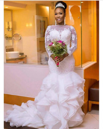 Wholesale Organza Skirt Dress - Arabic Lace Mermaid Wedding Dresses 2018 Beaded Ruffled Organza Long Sleeves Tiered Court Train Bridal Gowns Nigerian Vestido De Novia
