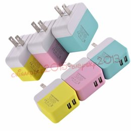 Wholesale Fold Mobile Phones - Dual USB Wall Charger US Plug 2 USB Ports Foldable Folding Home AC Power Adapter Chargers For iPhone 6 7 8 Samsung Mobile Phone