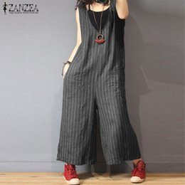 dcee41250485 Oversized Striped Jumpsuits Women V Neck Sleeveless Tank Romper Elegant  Casual Wide Leg Overalls Female Plus Size Work Pants 5XL