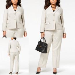 veste tailleur femme Promotion Ivoire Plus Size Office Lady Costume Deux Pièces Sur Mesure Pantalon Formel Mariage Dames Costumes D'affaires Vestes Jupes Robes Uniformes Femmes