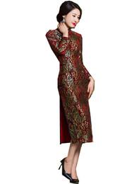 Argentina Shanghai Story Otoño de terciopelo de encaje Qipao vestido tradicional chino vestido de estilo oriental vestido largo de manga larga cheongsam vestido para las mujeres Suministro