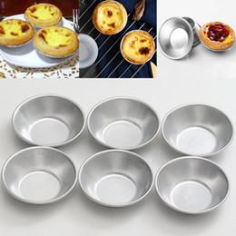 Wholesale Mini Pan Set - Silver Eggs Tarts Mold 6Pcs Set Mini Homemade Pie Quiche Baking Pan Cookies Pudding Mould DIY Baking Tools Kit Aluminum Alloy