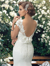 Wholesale Slim Elegant - Short Sleeves Backless Chiffon Vintage Mermaid Wedding Dresses Boat Neck Slim Waist Lace Appliques Flower Elegant Mermaid Bridal Dress W0209