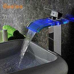 Wholesale Bathroom Cheap - Hydro Power LED Grifo Robinet Torneira Brass Single Handle Widespread Waterfall Bathroom Sink Cheap LED Faucets Chrome Taps