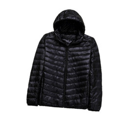Wholesale Men Navy Parka - Winter Plus 8XL Ultra light hooded Down Jacket Men Duck Down Coat Man Lightweight Overcoat Black Navy Parkas 082205