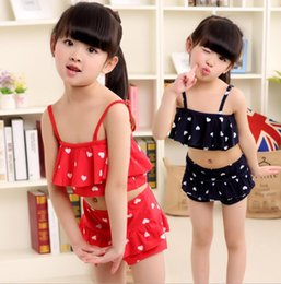Wholesale toddlers polka dots dresses - Girls Two-Pieces Swimsuit Cherry polka dot print beach dress bathing suit toddlers swimsuits Children Skirted Swimsuit Bikini KKA4291
