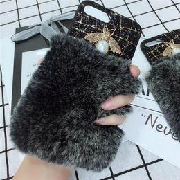 Wholesale Bee Rabbit - Luxury Bee Rhinestone Diamond Rabbit Fur Phone Case Cover iphone X Glitter Leather Phone Case For iphone X 8 plus 7 6s