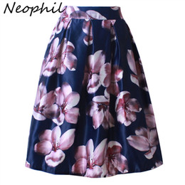 Neophil 2018 Retro Fashion Women Black White Pleated Flower Floral Print  High Waist Midi Ball Gown Flare Short Skirts Saia S1225 2279dce55d46