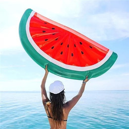 Wholesale Giant Party Ring - 183CM Giant Inflatable Floats Watermelon Floating bed Toy Ride-On Pool Swim Ring Lifebuoy Fun Party Float Inflatable Tubes MK284