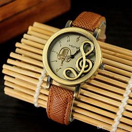 Wholesale Music Buckles - 12-hour Display Quartz Watch Retro PU Strap Metal Bronze Case Music Note Markers Unisex watches Ancient Roman style