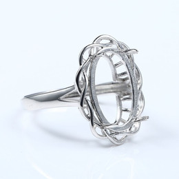 925 Sterling Silber Frauen Ring Halb Mount Engagement Ehering Oval Cabochon 10x15 MM Edlen Schmuck Einstellung von Fabrikanten