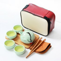 Wholesale tea cups sets wholesale - Gift Chinese Traditional Kung Fu Tea Set Outdoor Ceramic Package Portable Travel Bag 1 Pot 2 4 Cups Portable Drinkware