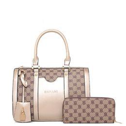 Wholesale gold serpentine chain - Pink sugao new style lattice two pieces fashion handbag Lashes designer handbags tote bag cross body bag women messenger shoulder bag set