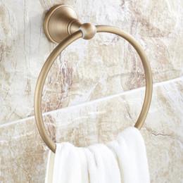 2019 anéis de latão sólidos Titular da toalha de banho de cobre cheio de bronze latão Wall-Mounted Rodada antique bronze Toalha Anel Toalheiro estilo Europeu anéis de latão sólidos barato