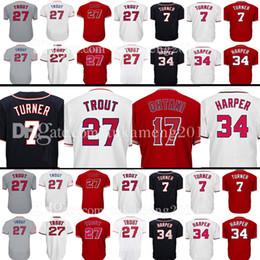 Wholesale Black Baseballs - Men's 17 Shohei Ohtani 27 Mike Trout Jersey 7 Trea Turner 34 Washington Los Angeles Baseball Jerseys Embroidery Logos 100% Stitched