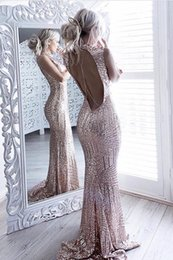 Wholesale High Neck Sparkle Formal Dress - Sequins Sparkling Mermaid 2018 Formal Dress Sexy Open-Back Sleeveless High Neck Prom Dresses Long Sexy Backless Evening Gowns