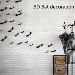 Bambini decorazione di carta da parati 3d online-Halloween 3D Bat Wallpaper PVC nero Bat Wall Stickers Home Decor per il partito Kids Room Living Room Stickers murali Carta da parati Decorazione di Halloween
