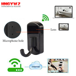 Wholesale Hidden Cameras Clothing - HD 720p Wi-Fi Hidden Camera Clothes Hook App View Remote Real-time Video With Loop video recording Spy Camera Wireless Home Security Camera