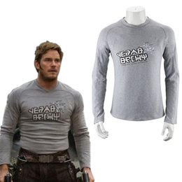 wholesale galaxy shirts Coupons - Men Clothing T-shirts Guardians Of The Galaxy 2 Starlord Shirt Peter Jason Quill Cosplay Costume T-Shirt Men Long Sleeve Tops