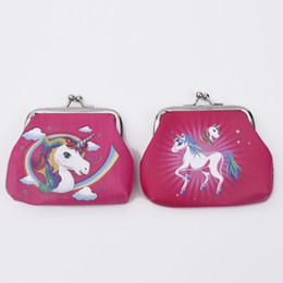 Wholesale change purse hasp - Mini Unicorn cartoon Coin Purses girl hasp change unicorn fashion Wallet Money Bag Small Pocket FFA546 300PCS