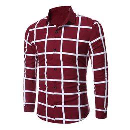 Wholesale Men Wearing Boys Clothes - High Quality Wine Red Plaid Blusa Matrue Man Wedding Clothing City Men Office Wear Tops Club Boy Brief Style Big Plaids Shirt