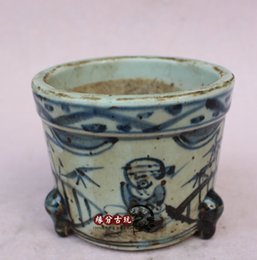 Wholesale Blue White Antique Porcelain - Jingdezhen porcelain antique blue and white pen holder incense burners home furnishings four treasures stationery Decoration