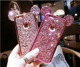 Wholesale Cover For Iphone Mouse - Colorful Glitter Powder Cover Soft Glitter Case LogoHole For iPhone X 8 i6 6S 7 i7 plus Case Cartoon 3D Mouse Ears Sparkling