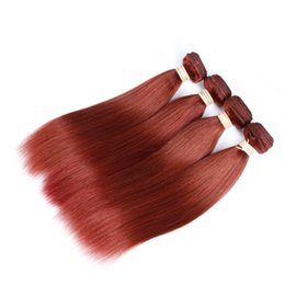 Wholesale Cheap Russian Extensions - cheap auburn hair weave 100% unprocessed russian #33 straight human hair extensions 8-30inch 3 bundles sale