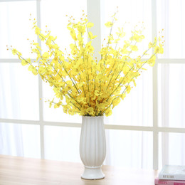 Wholesale Wholesale Fake Flower Stems - Artificial Dancing Lady Orchid fake Silk Flower For Home wedding party Decoration With Stem Petal flower arrangements centerpieces for table