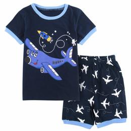 Kinder kurzarm pyjama online-Kinder Jungen Nachtwäsche Flugzeug Pyjama Kind Kurzarm Baumwolle Pyjamas Kinder Pijamas Kleidung Set Loungewear Pyjamas Für Jungen