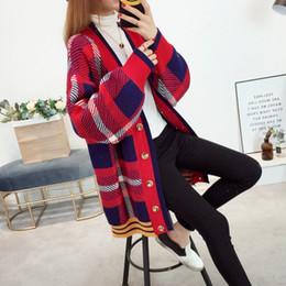 2018 koreanischer dicker pullover Herbst-koreanische Frauen Cardigans  Striped Plaid Sweater mit Puffärmeln Weibliche lose 9dc2da37cb