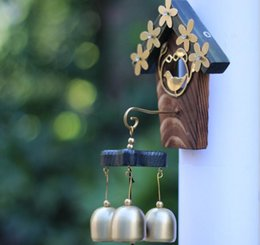 Wholesale Home Music - Wholesale Copper Bird Nest Wind Chimes Antique House Decoration Windchimes Luxurious Retro Home Wall Yard Garden Hanging Decoration Gift