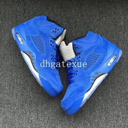 Wholesale Plastic Canvas Kids - Kids Air Retro 5 Blue Suede Basketball Shoes Retro 5s Blue Suede Sneakers For Sale Size 28-35