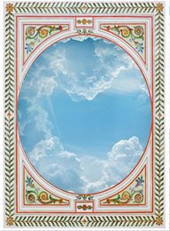 Зеленые листья онлайн-Оптовая продажа-пользовательские фото обои 3D потолочные фрески обои нежный зеленый виноград листья круг голубое небо 3d обои потолок