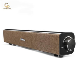 Wholesale home theater speaker system - Goldbulous soundbar computer bluetooth speaker 20w super bass sound system with aux audiofor pc tv home theater speakers